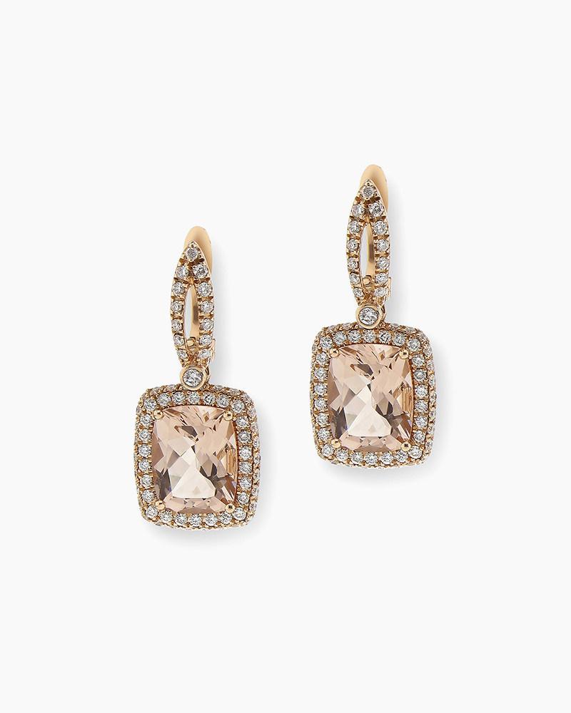 Morganite Square Earrings