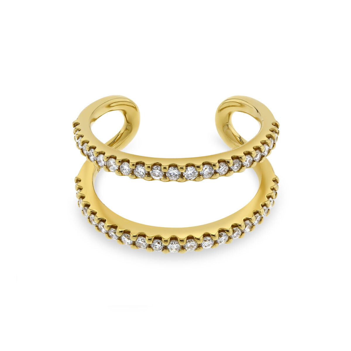 Double Row Yellow Gold Diamond Ring