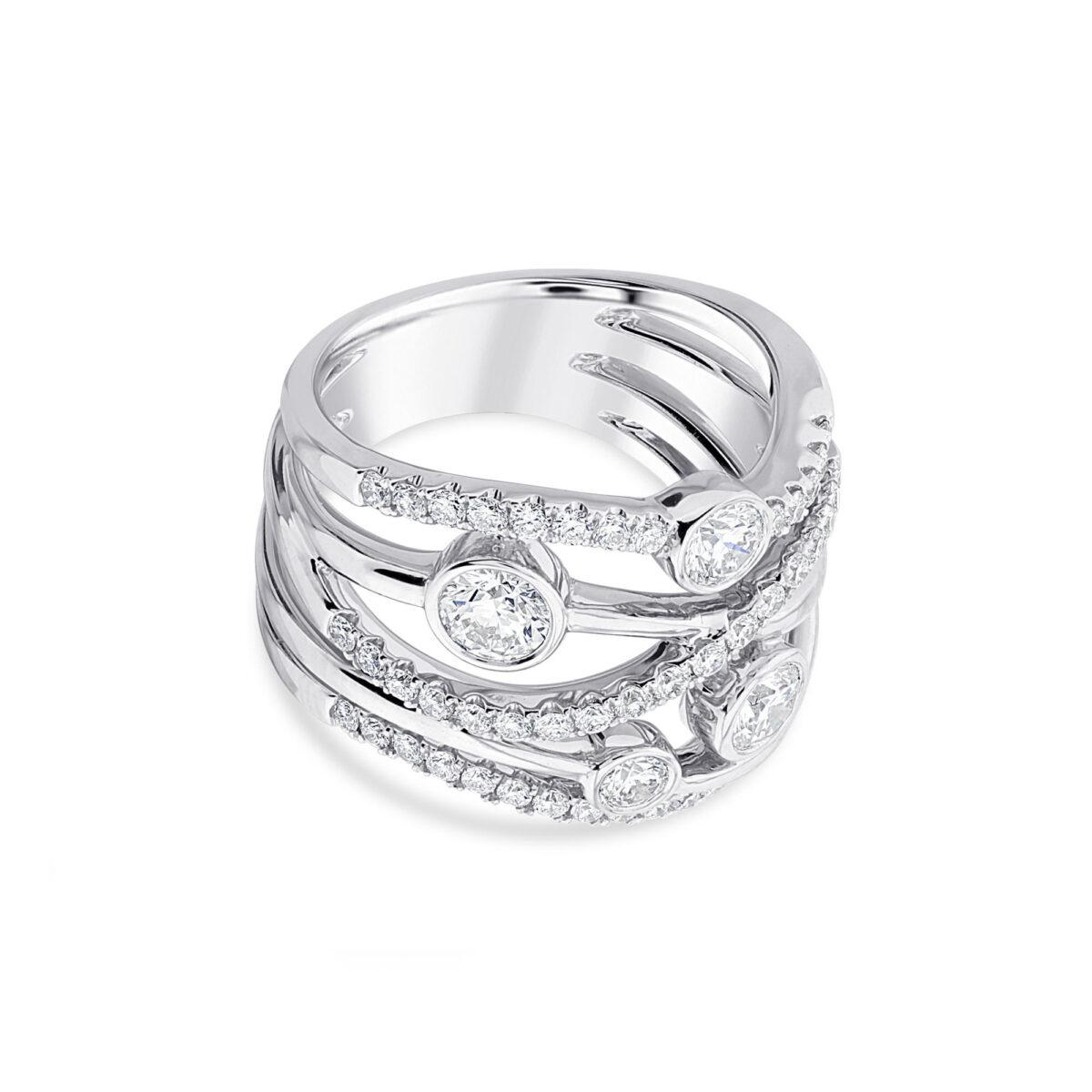Lunar White Gold Diamond Ring