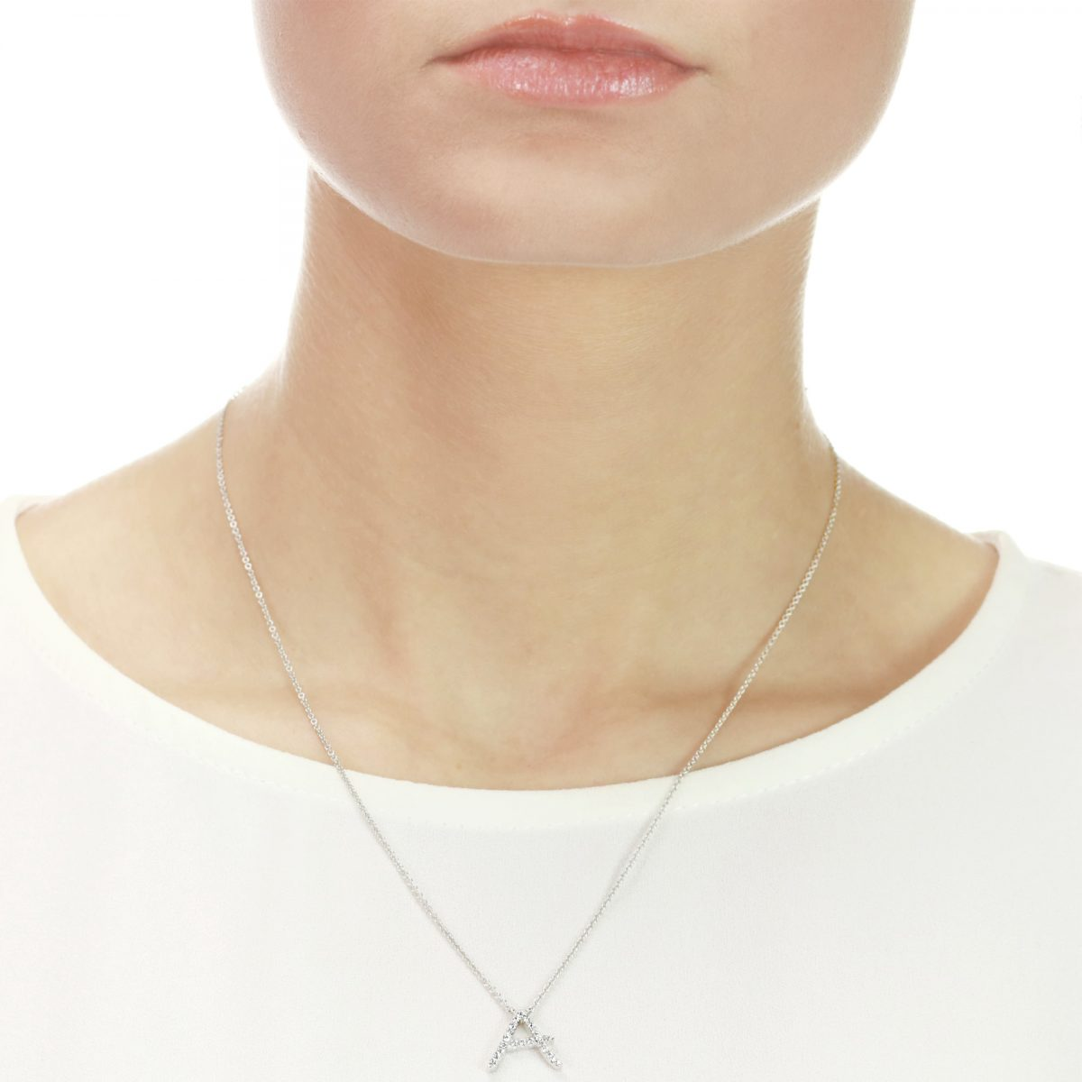 Initial White Gold Diamond Necklace