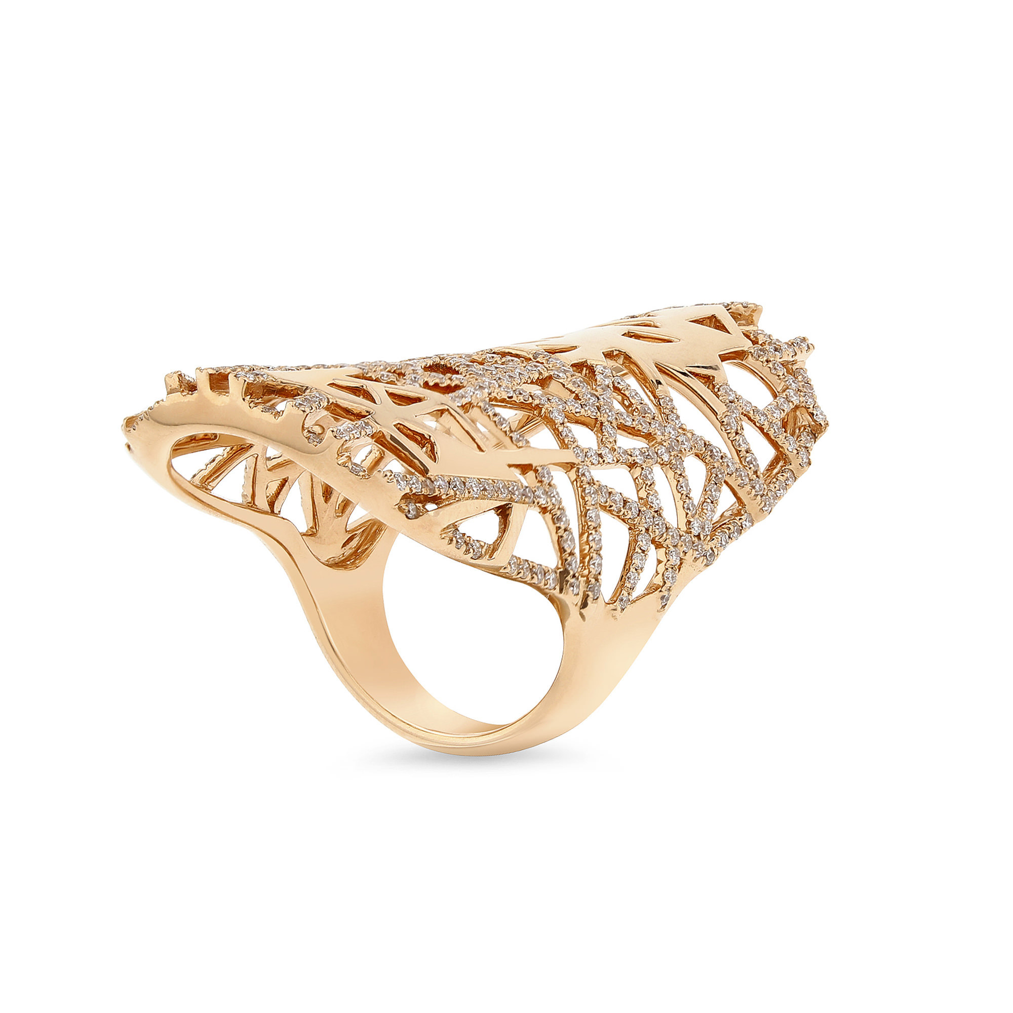Lattice Rose Gold Diamond Ring