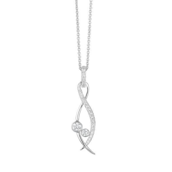 Lunar White Gold Diamond Necklace