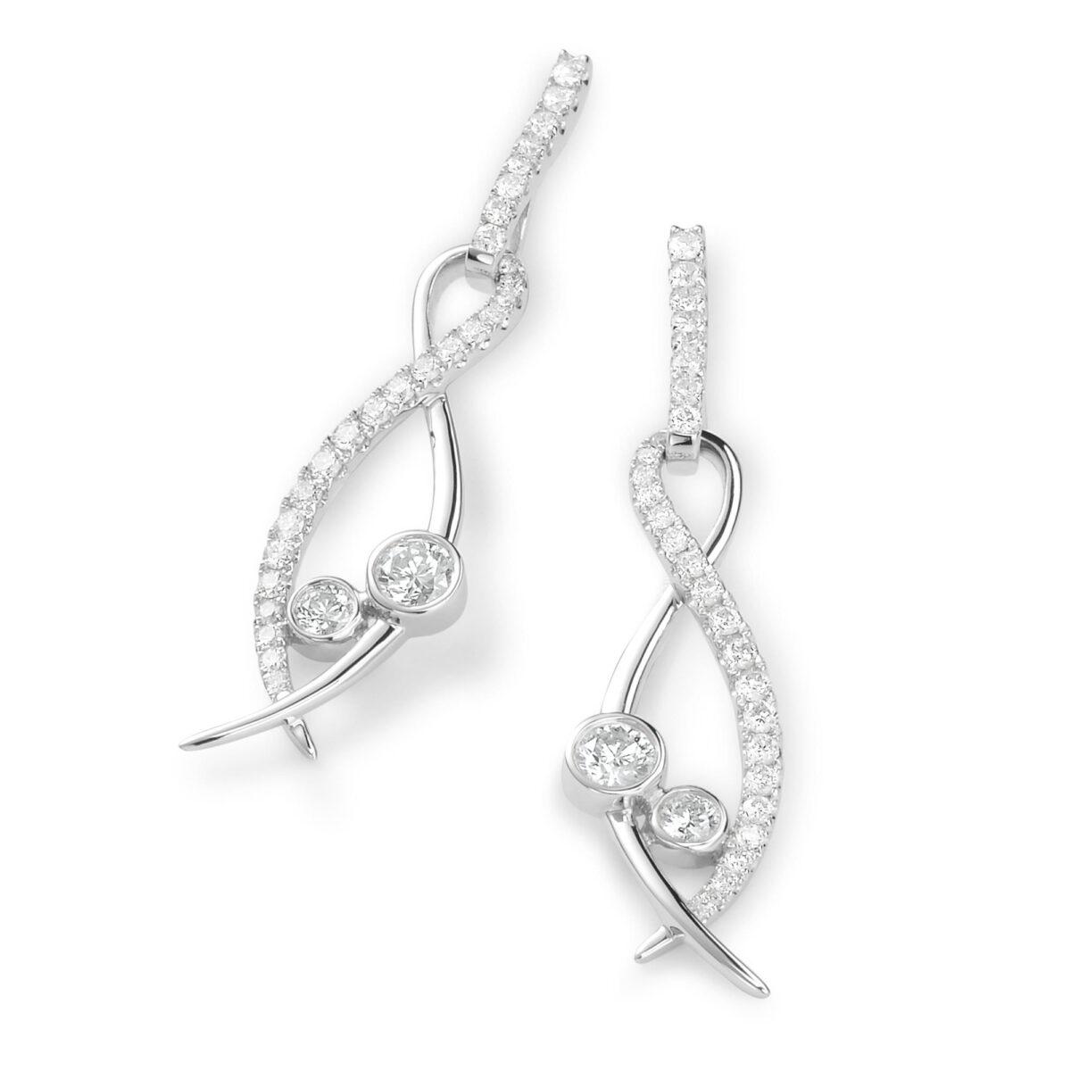 Lunar White Gold Diamond Earrings