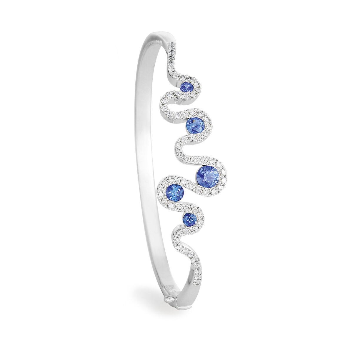Meander White Gold Sapphire Diamond Bangle