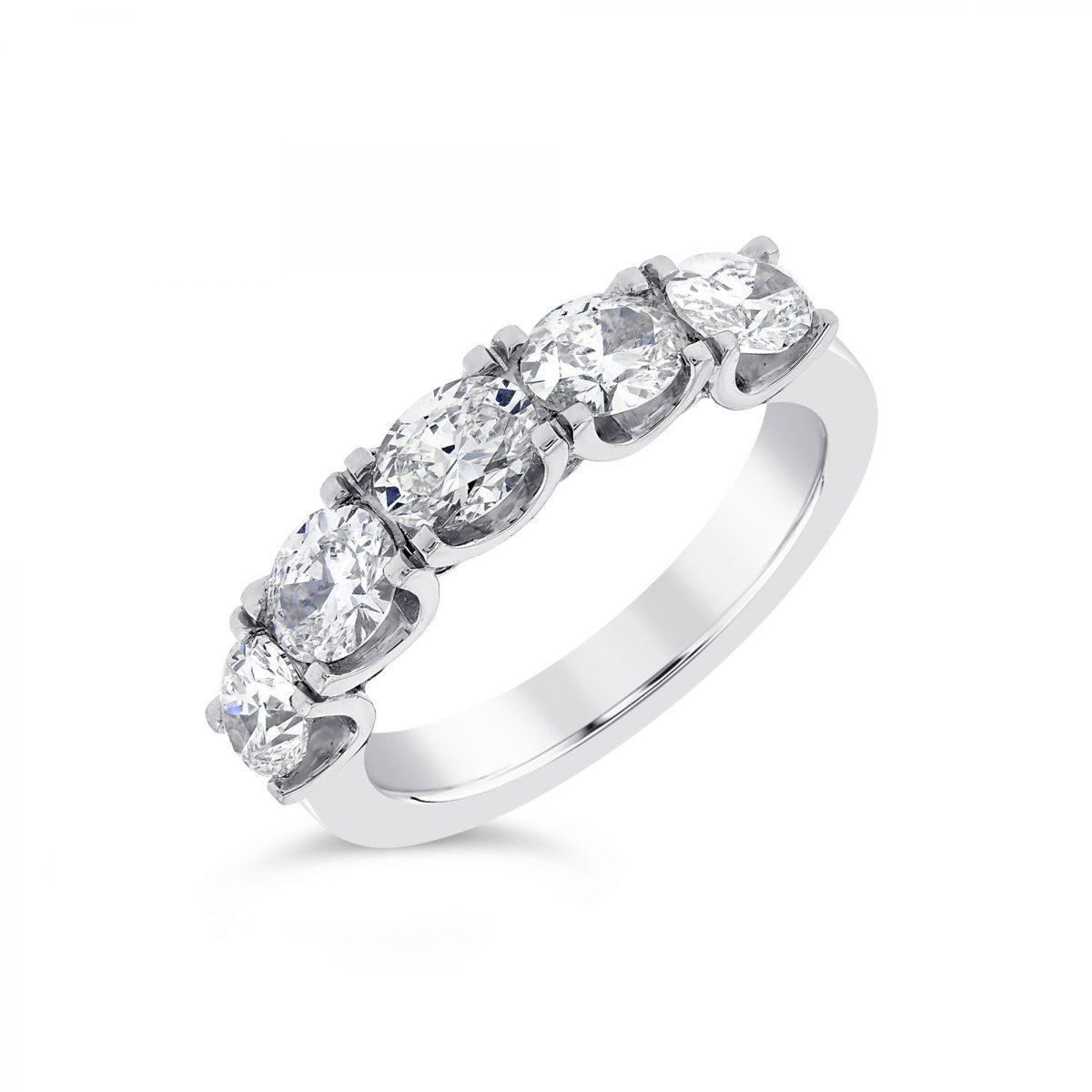 Oval Five Platinum Diamond Eternity Ring