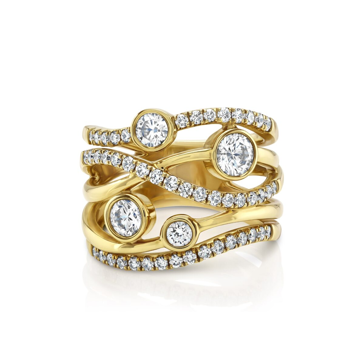Lunar Yellow Gold Large Diamond Ring