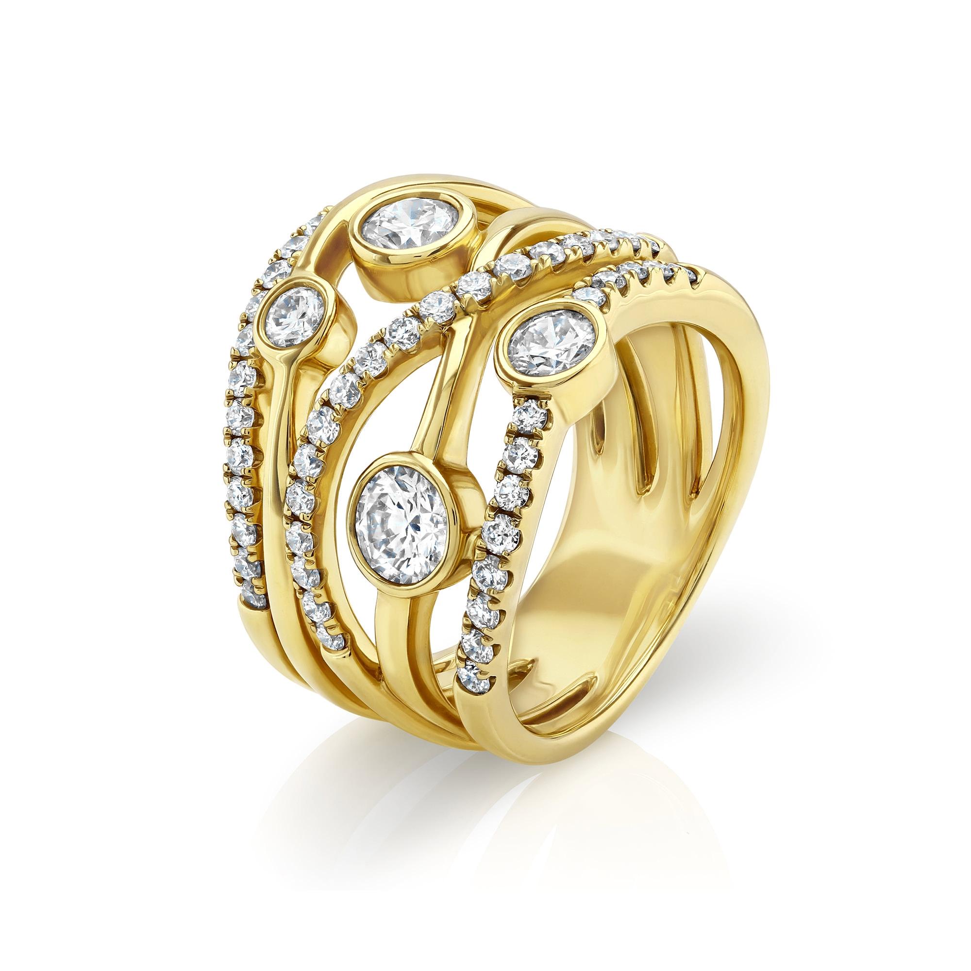 Lunar Yellow Gold Large Diamond Ring