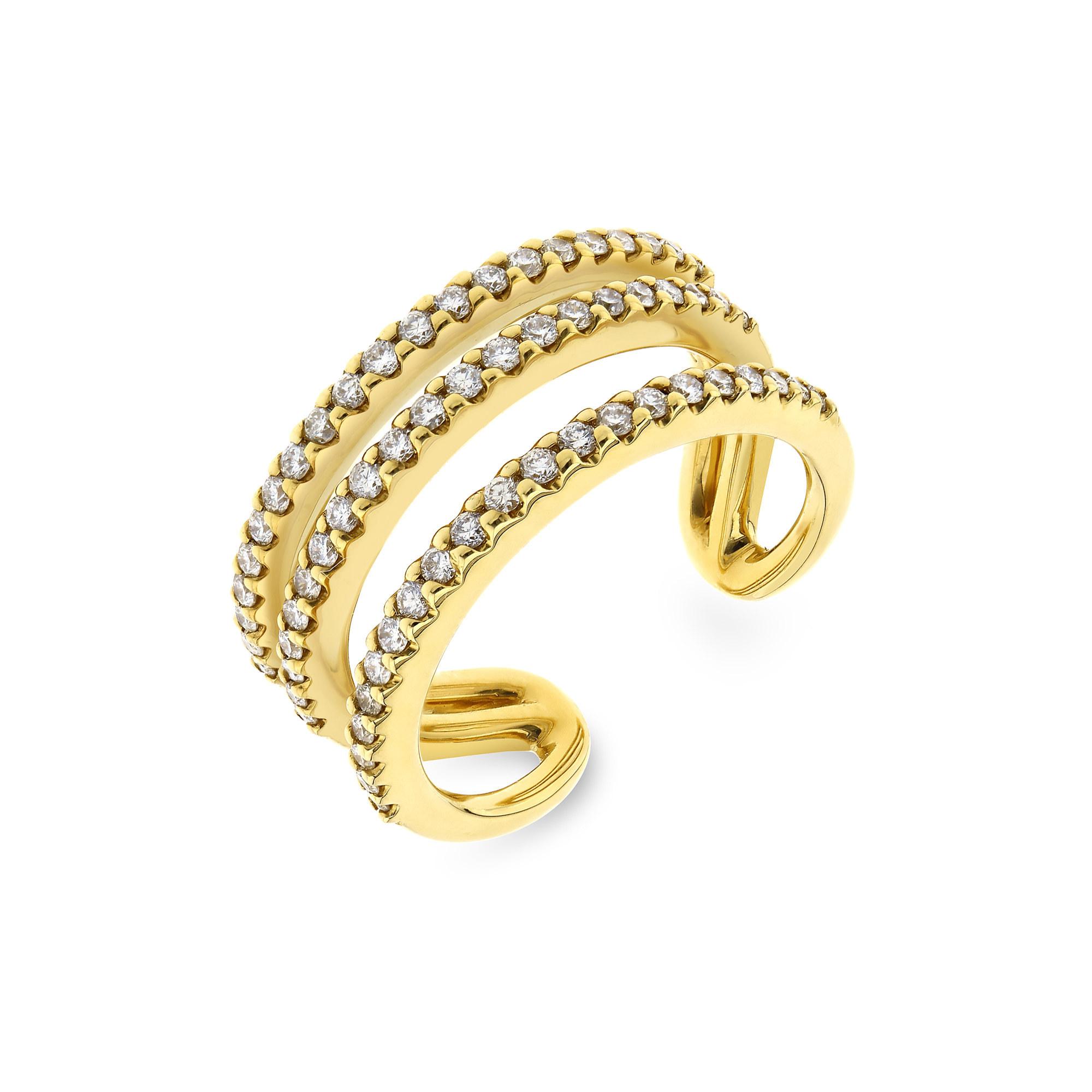 Triple Row Yellow Gold Diamond Ring