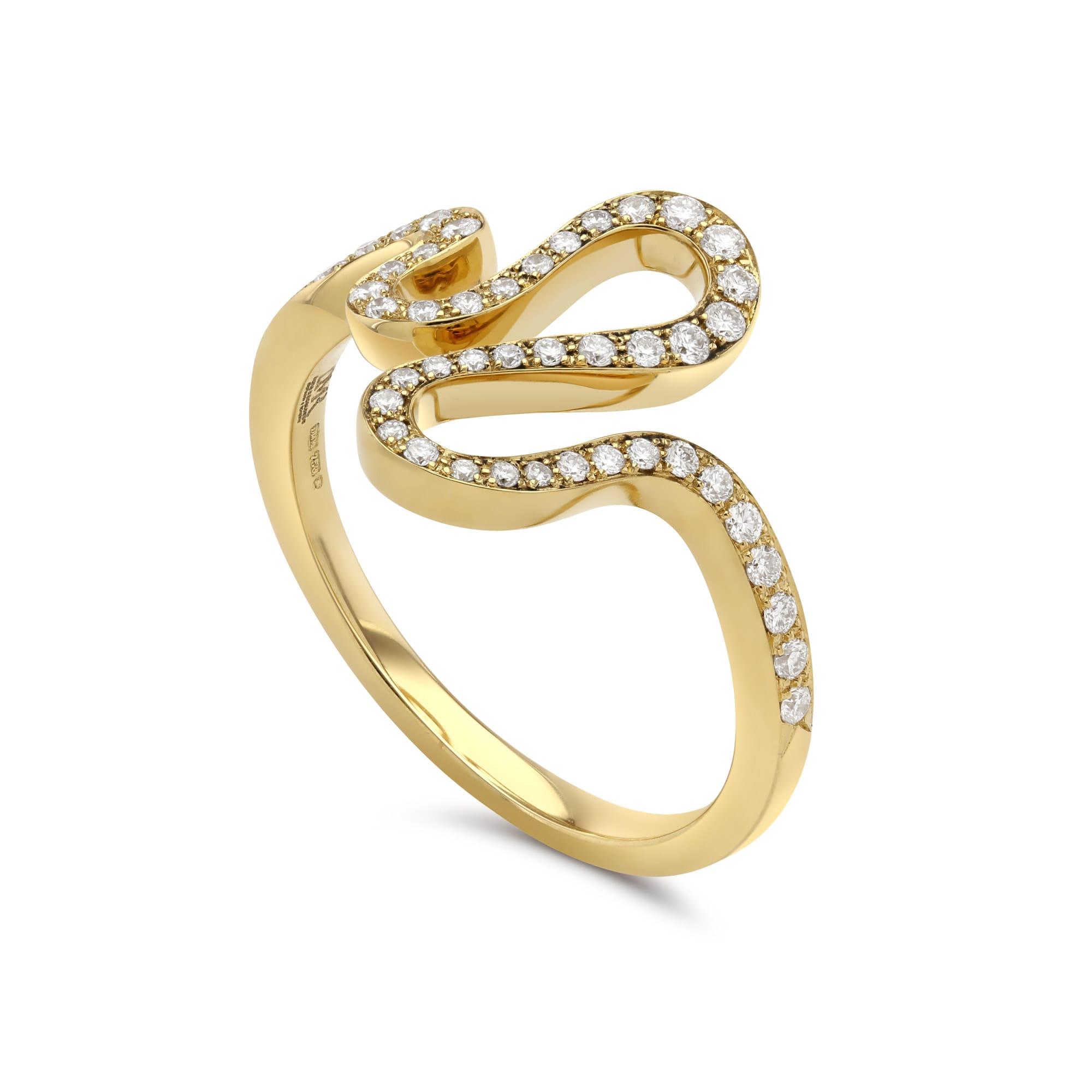 Meander Yellow Gold Pavé Diamond Ring