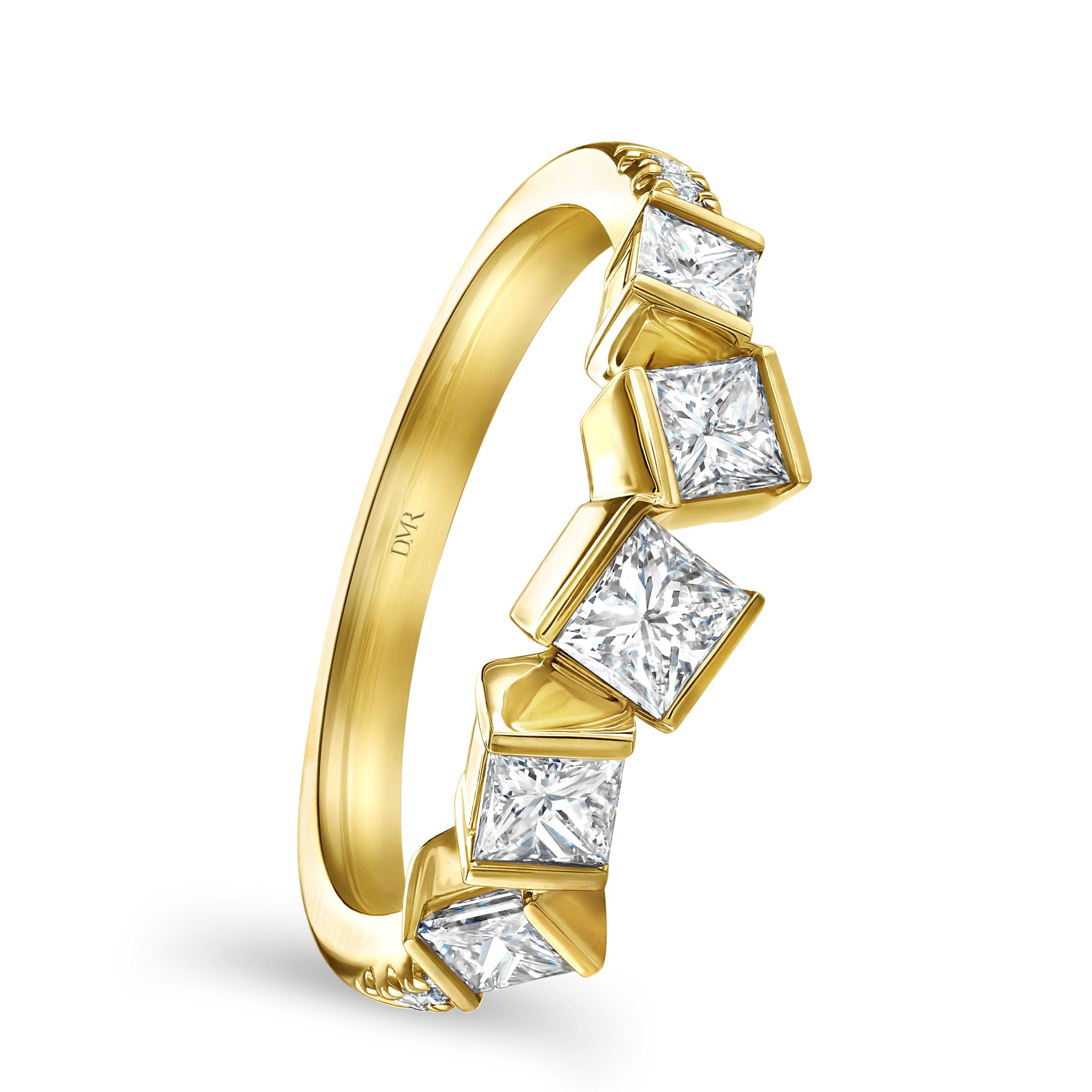 Hopscotch Yellow Gold Diamond Ring