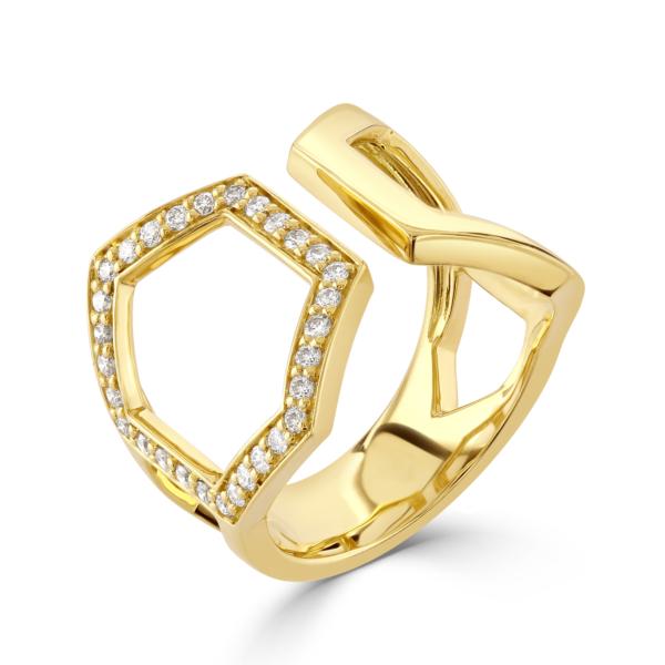 Honeycomb Yellow Gold Diamond Ring