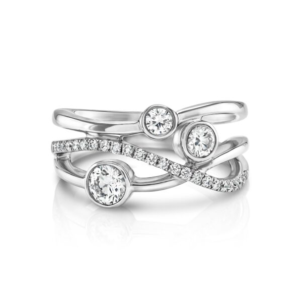 Lunar White Gold Pavé Diamond Ring