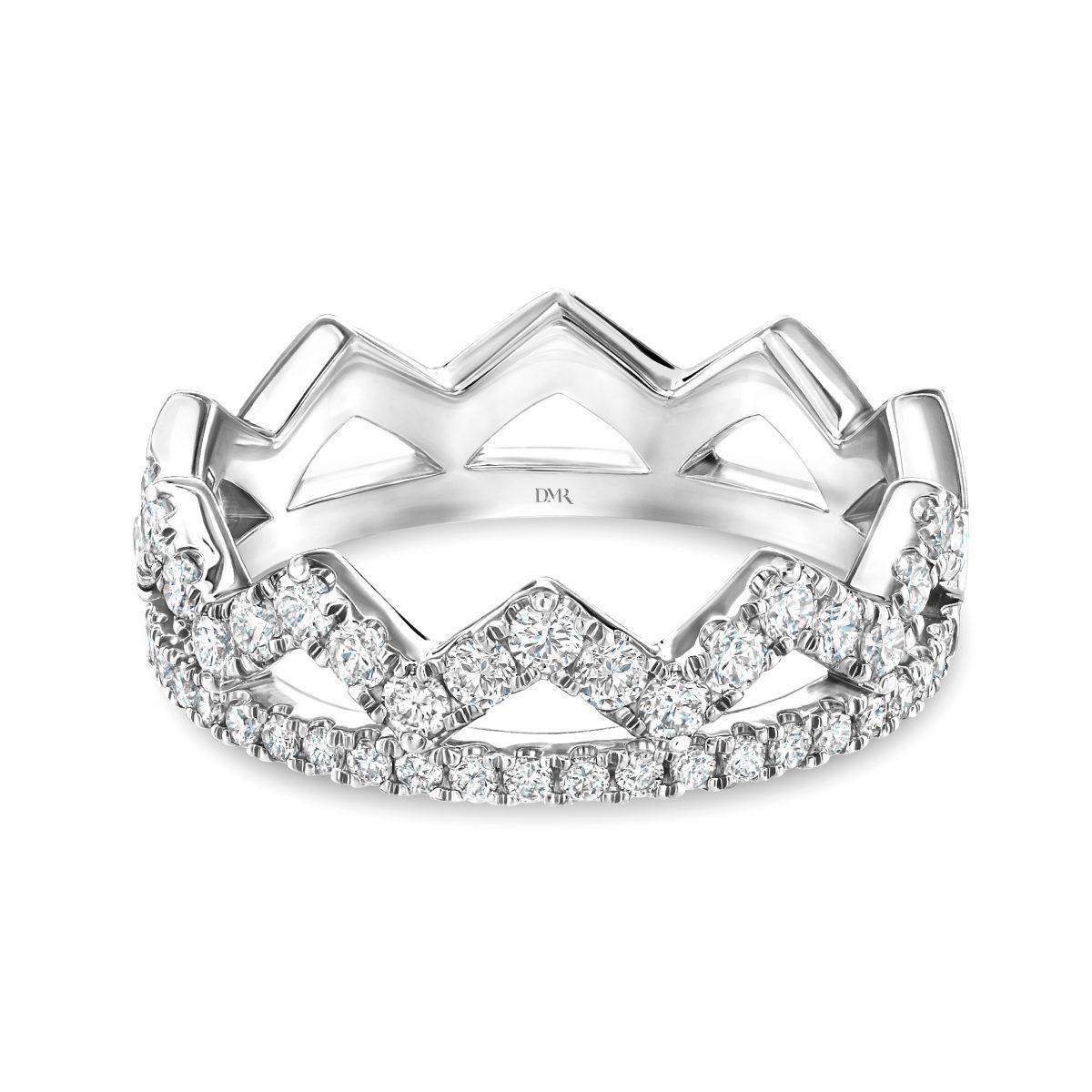 Crown White Gold Diamond Stacking Ring