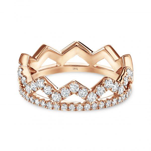 Crown Rose Gold Diamond Stacking Ring