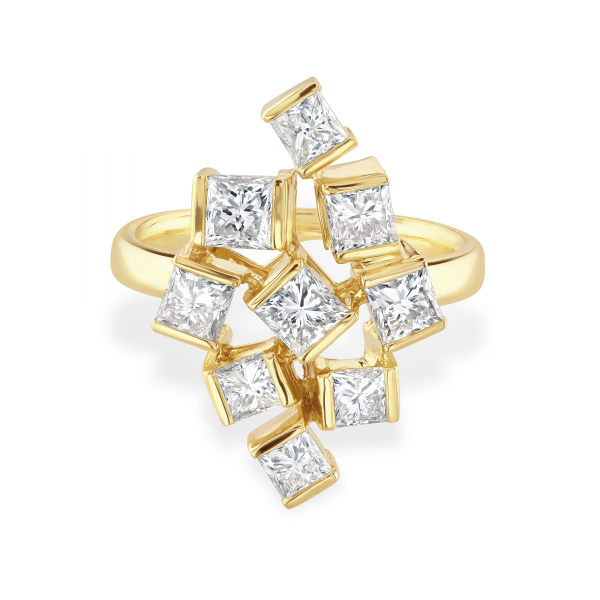 Hopscotch Yellow Gold Diamond Statement Ring