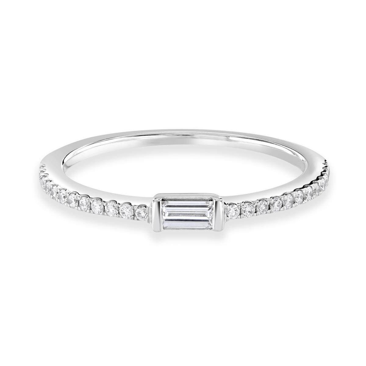 Baguette Cut White Gold Diamond Stacking Ring