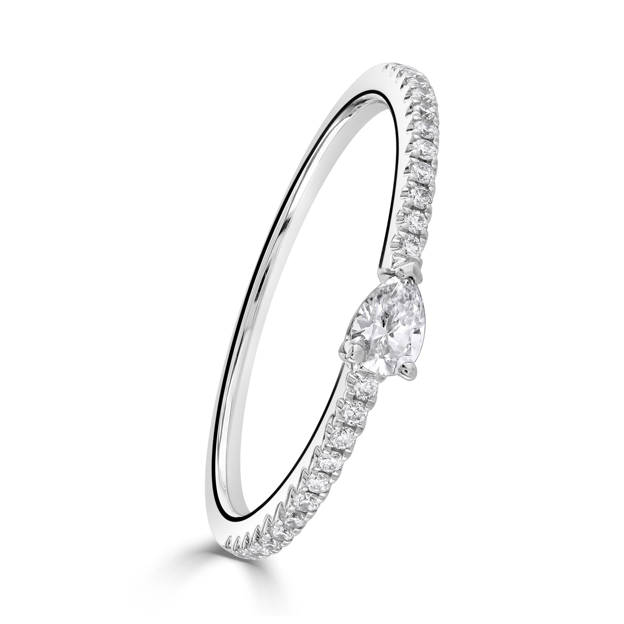 Pear Cut White Gold Diamond Stacking Ring