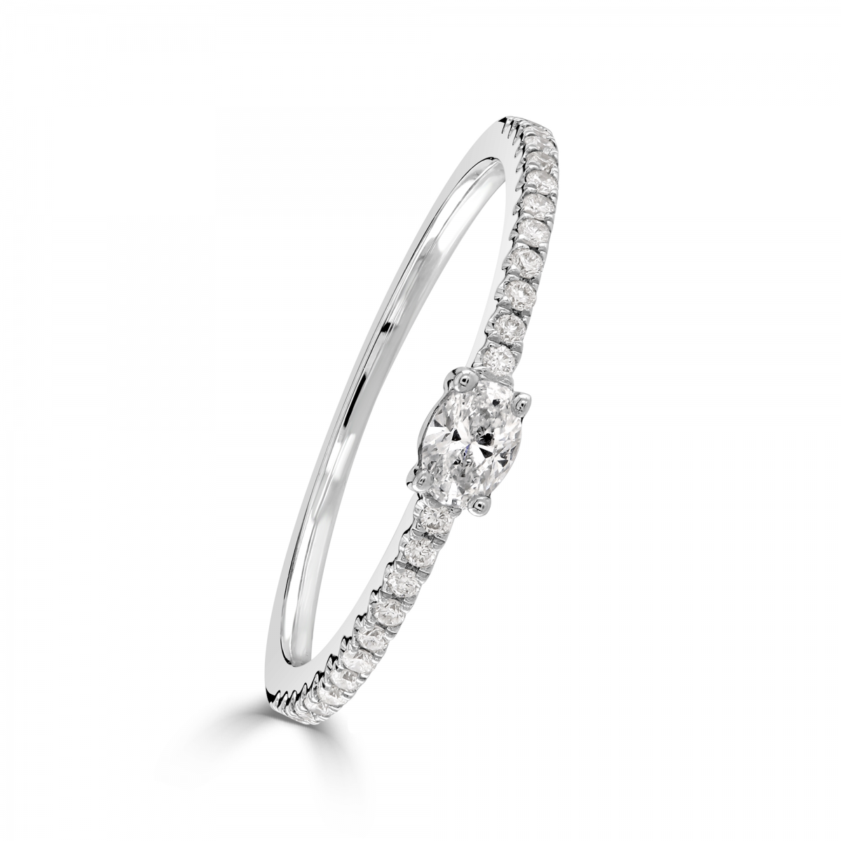 Oval Cut White Gold Diamond Stacking Ring