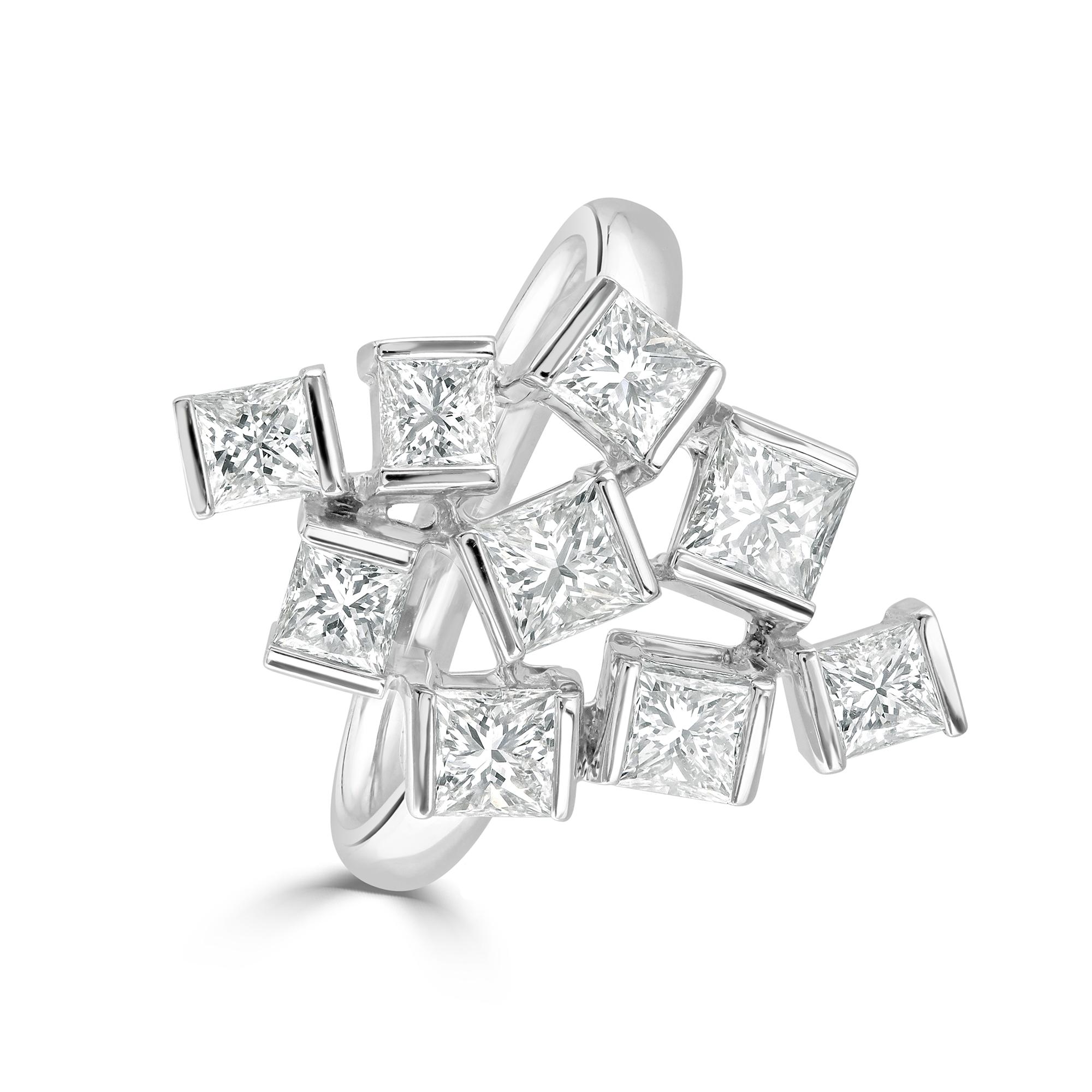 Hopscotch White Gold Diamond Statement Ring