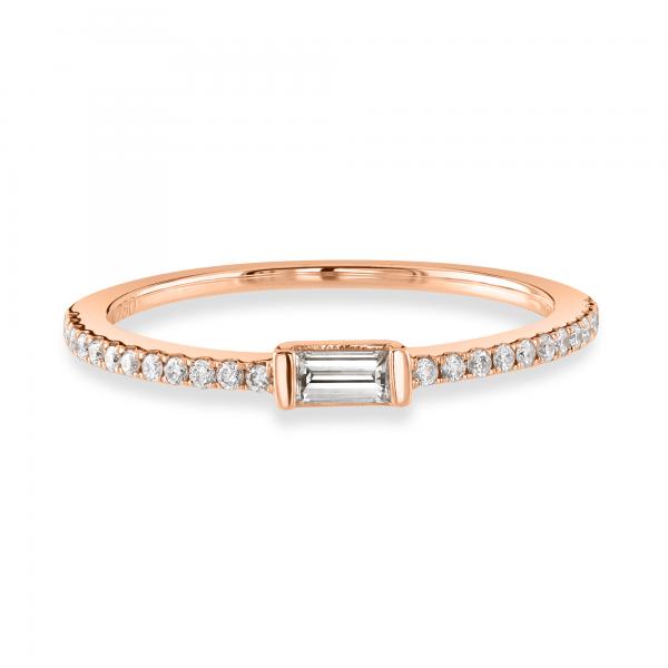 Baguette Cut Rose Gold Diamond Stacking Ring