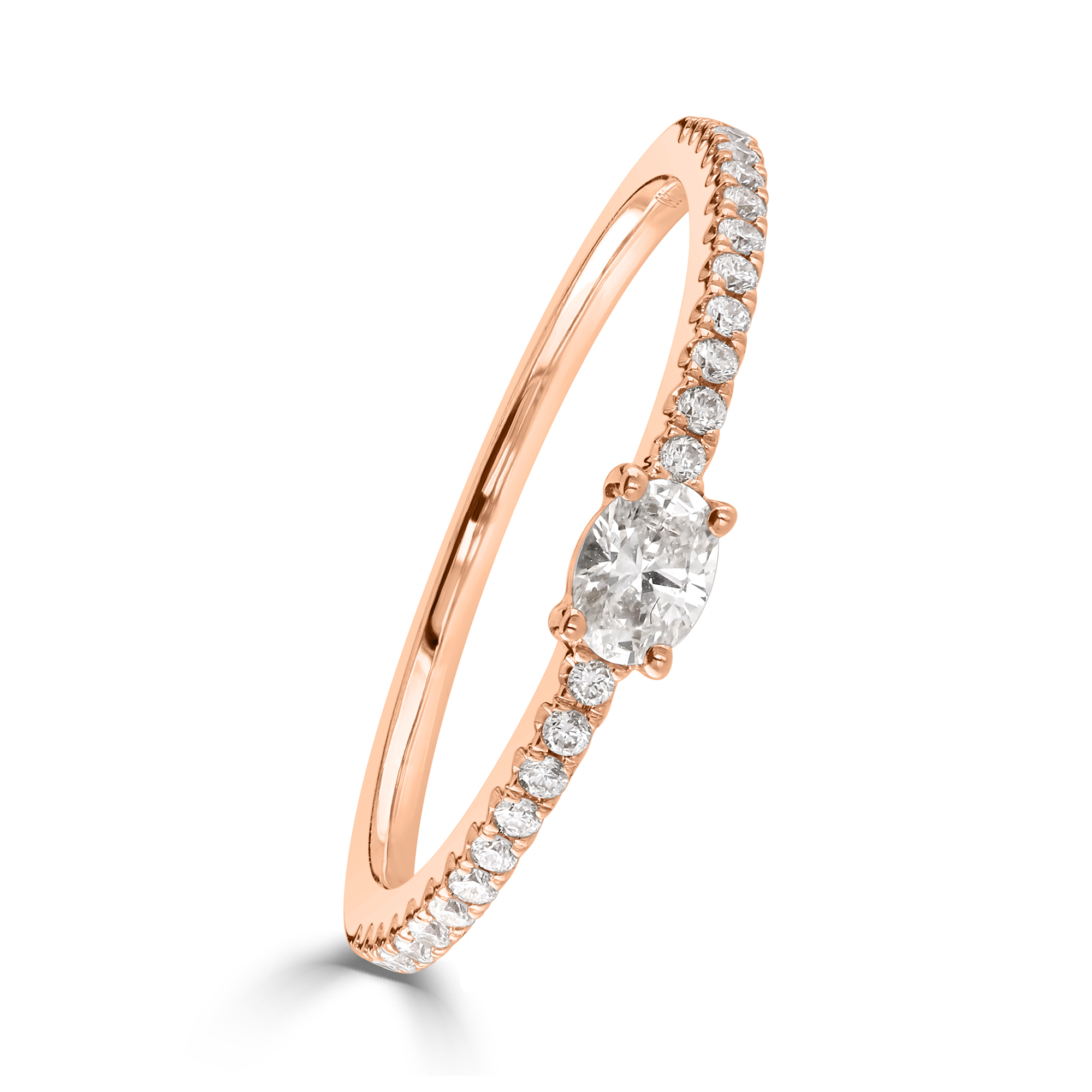 Oval Cut Rose Gold Diamond Stacking Ring