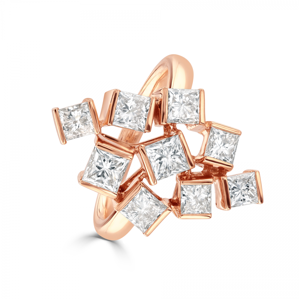 Hopscotch Rose Gold Diamond Statement Ring