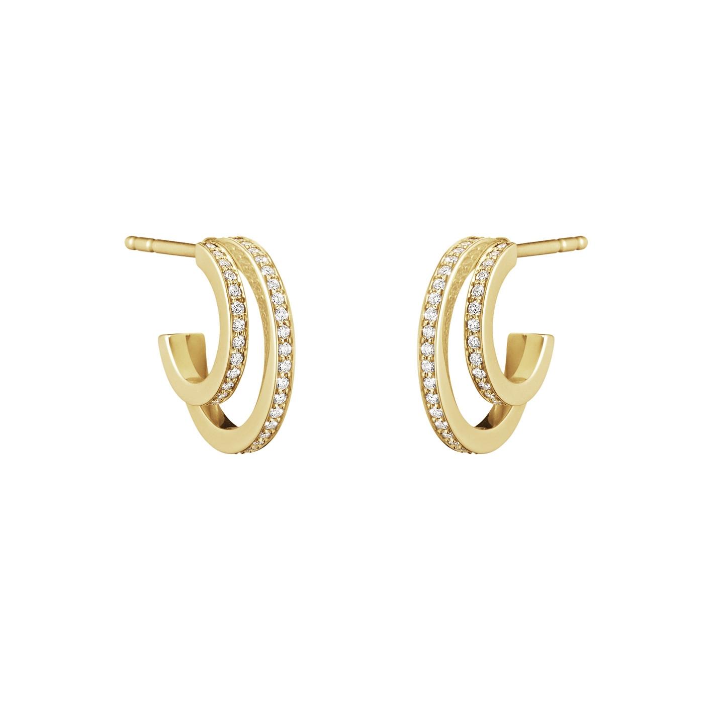 Georg Jensen Halo Pave Hoop Earrings