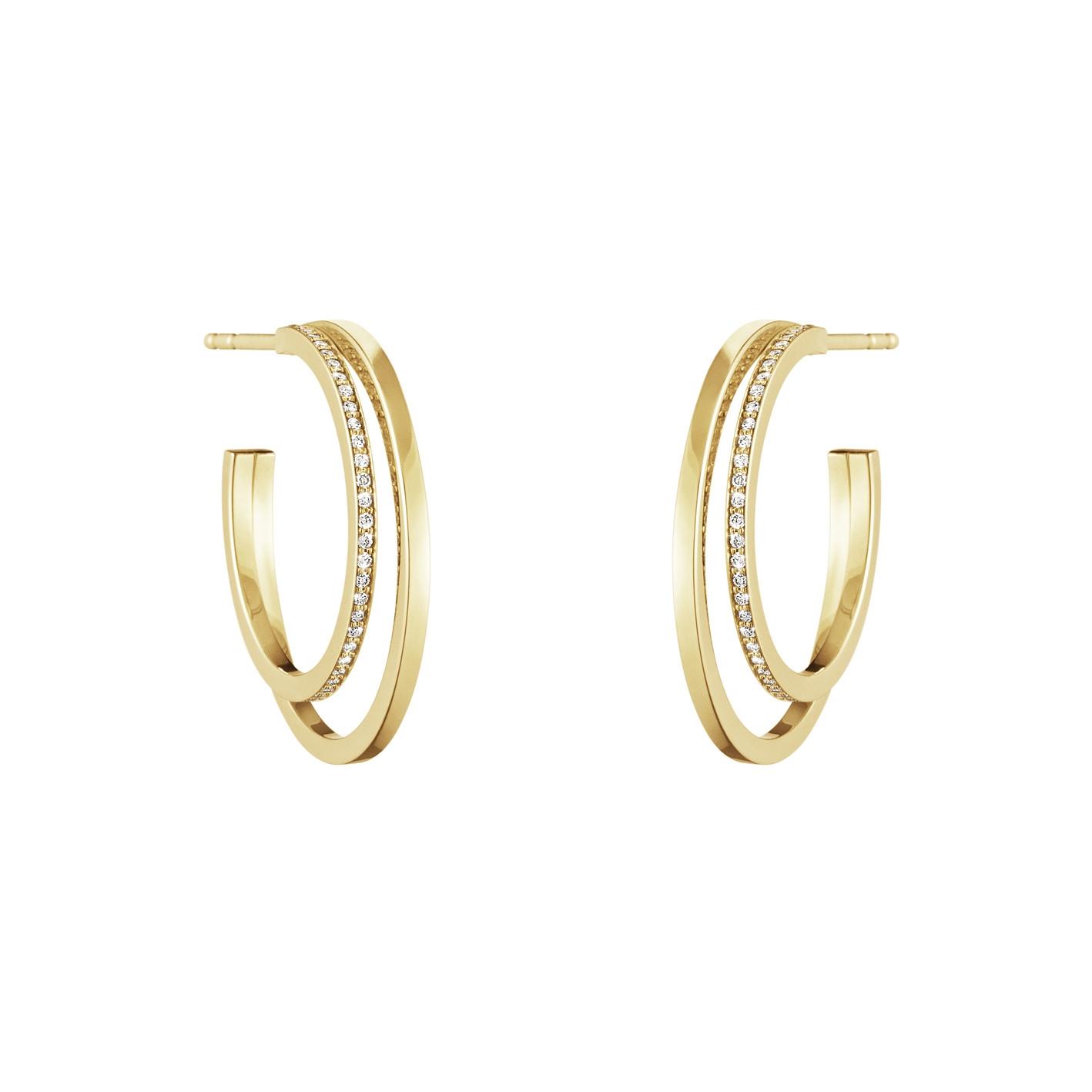 Halo Large 18ct Yellow Gold & Diamond Double Hoop Earrings