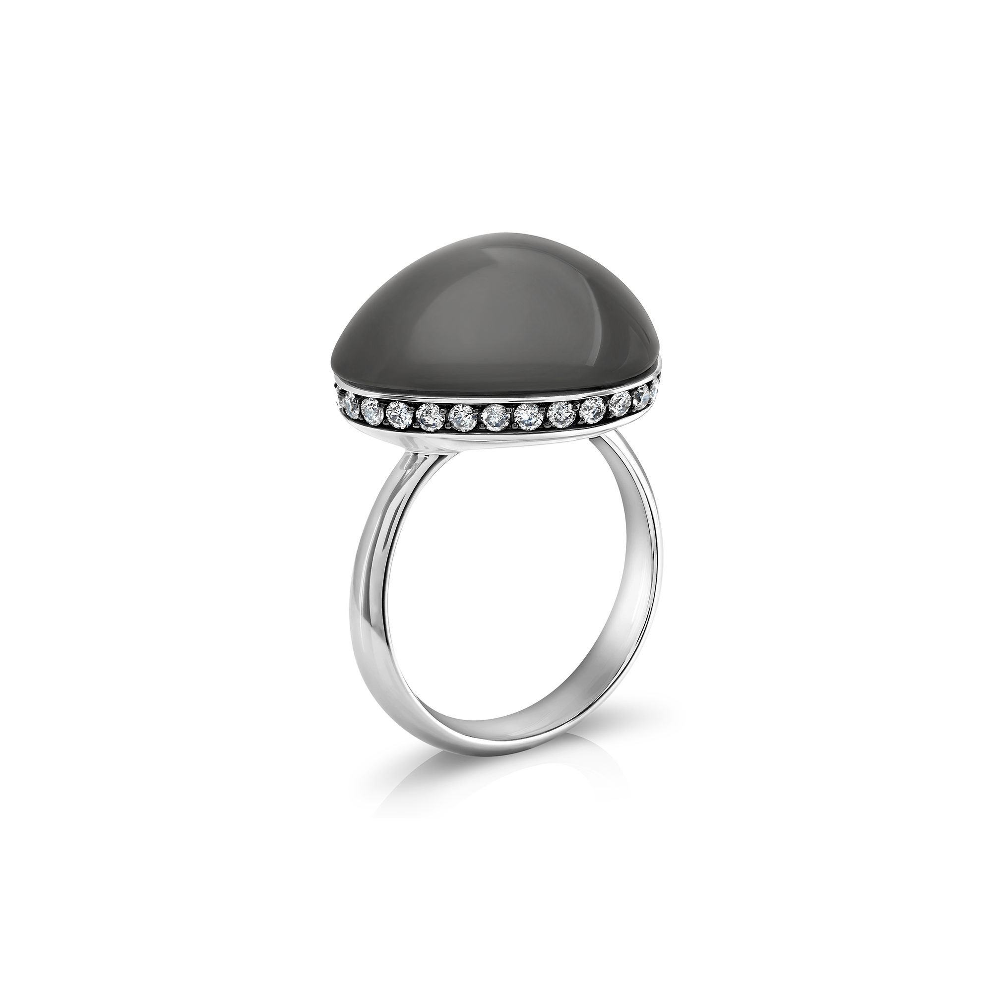 Pebble White Gold Moonstone Diamond Ring