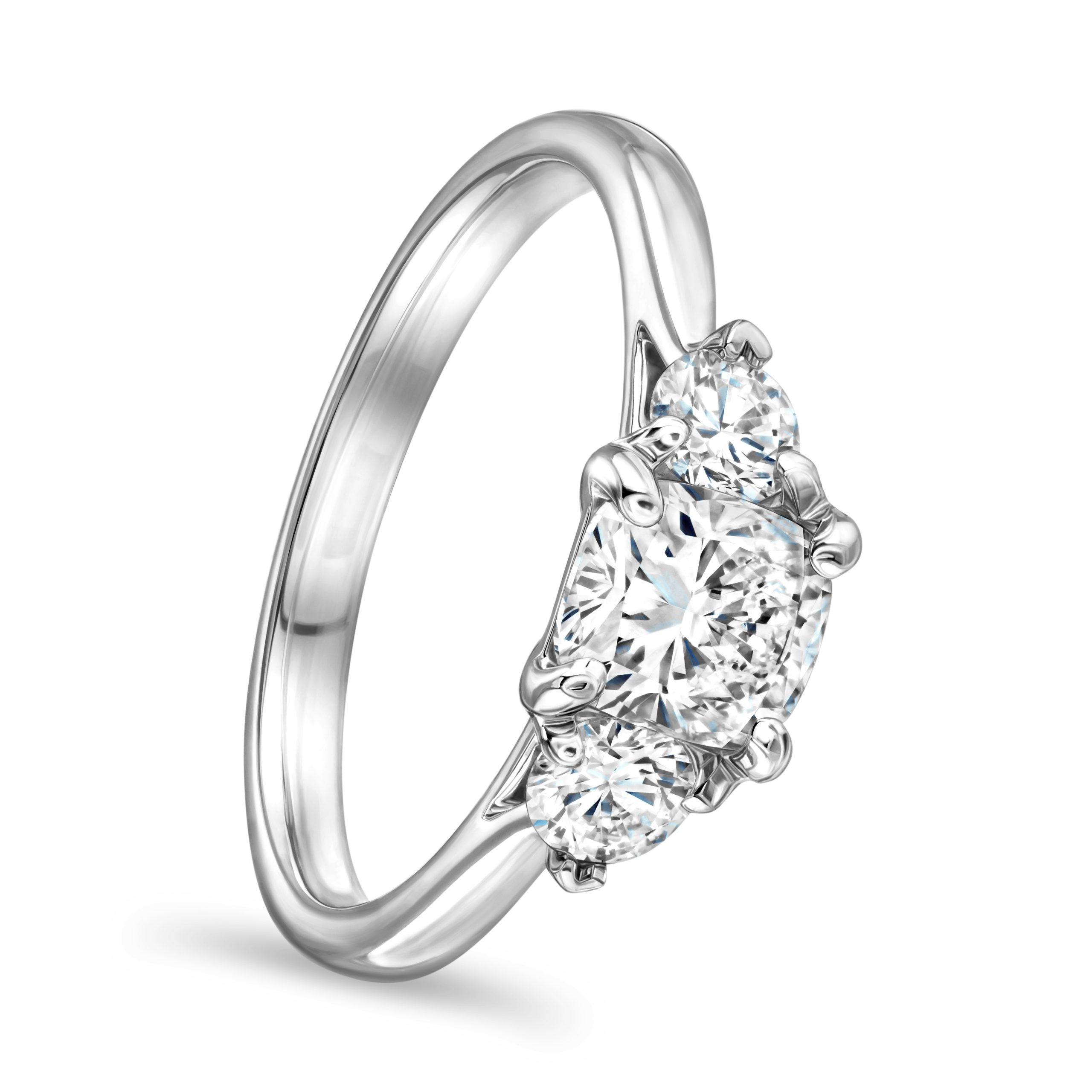 Cushion Cut Platinum Diamond Trilogy Ring
