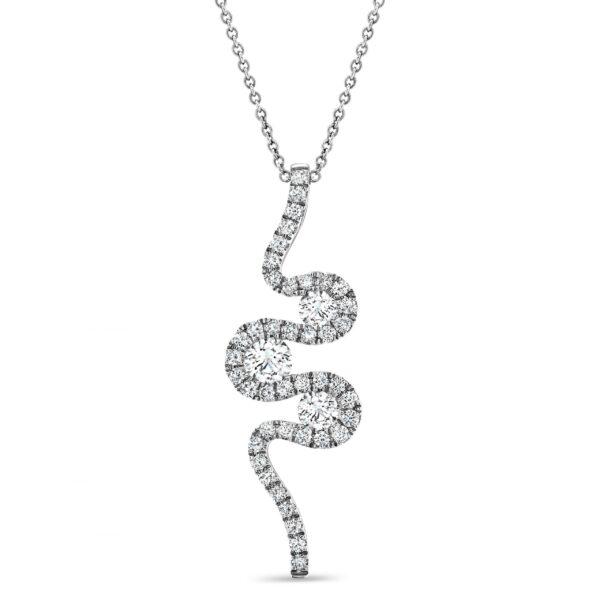 Meander White Gold Diamond Pendant