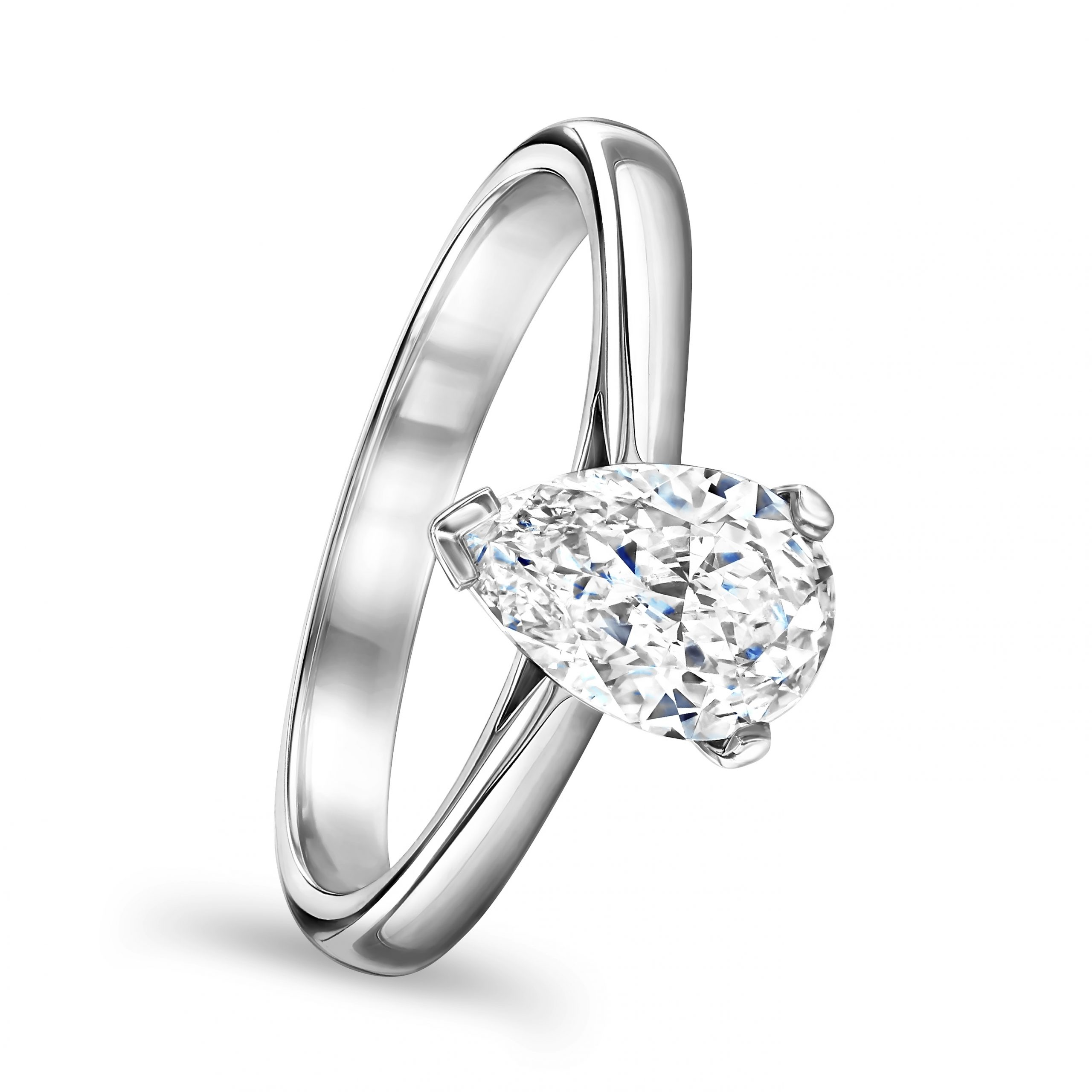 Pear Shape Platinum Diamond Ring