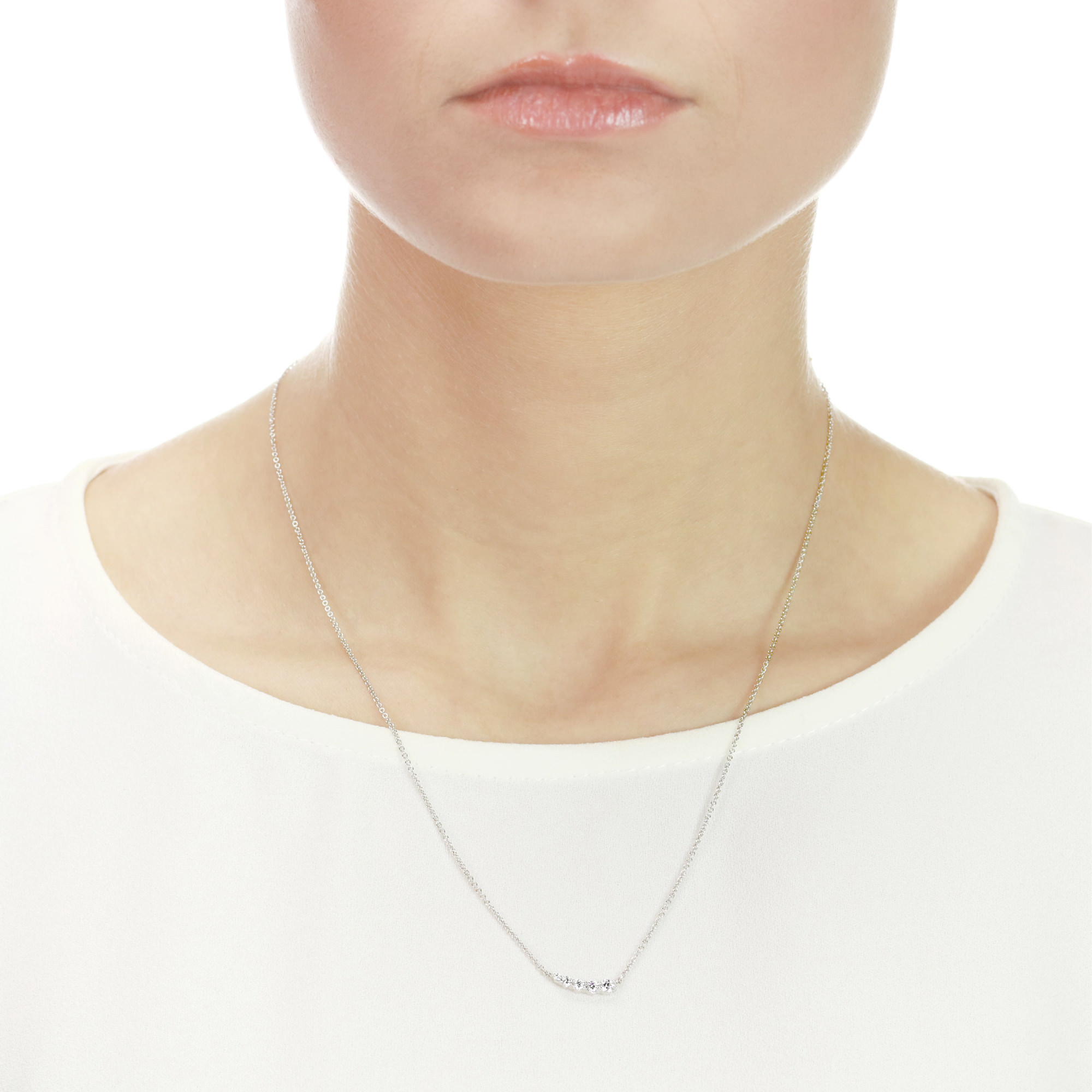 Five Stone White Gold Diamond Necklace