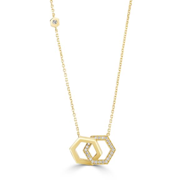Honeycomb Yellow Gold Diamond Pendant