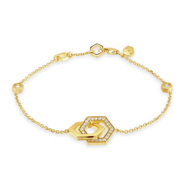 Honeycomb Yellow Gold Diamond Bracelet