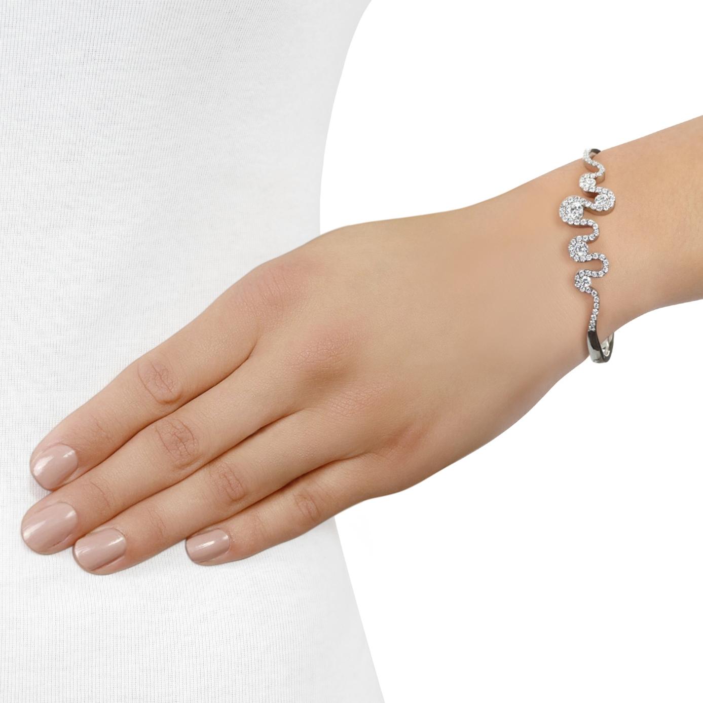 Meander White Gold Diamond Bangle