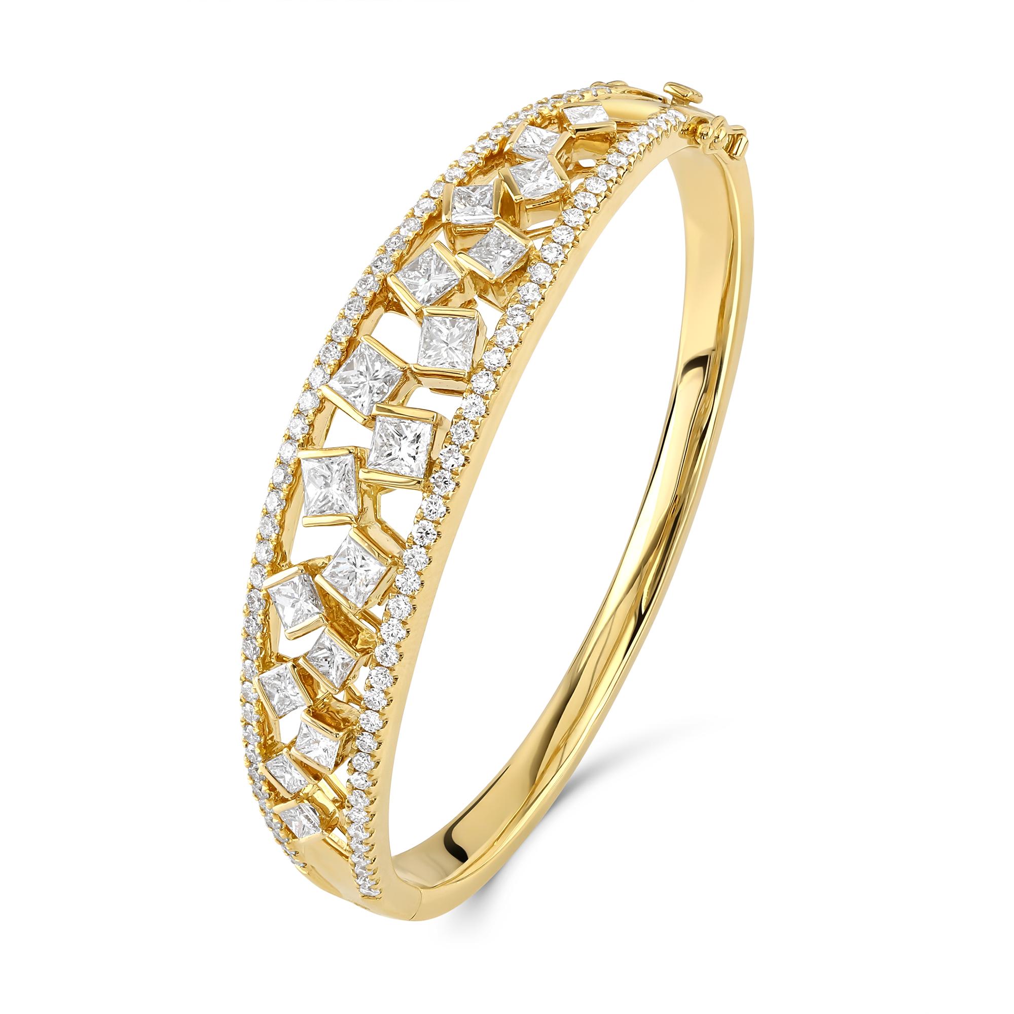 Hopscotch Yellow Gold Diamond Statement Bangle