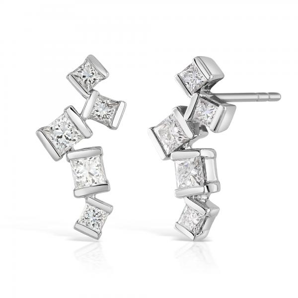 Hopscotch White Gold Diamond Drop Earrings