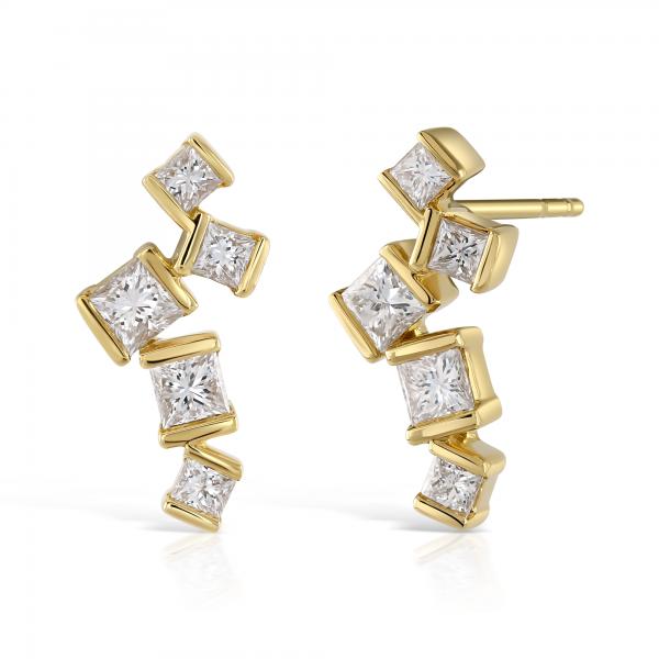 Hopscotch Yellow Gold Diamond Drop Earrings