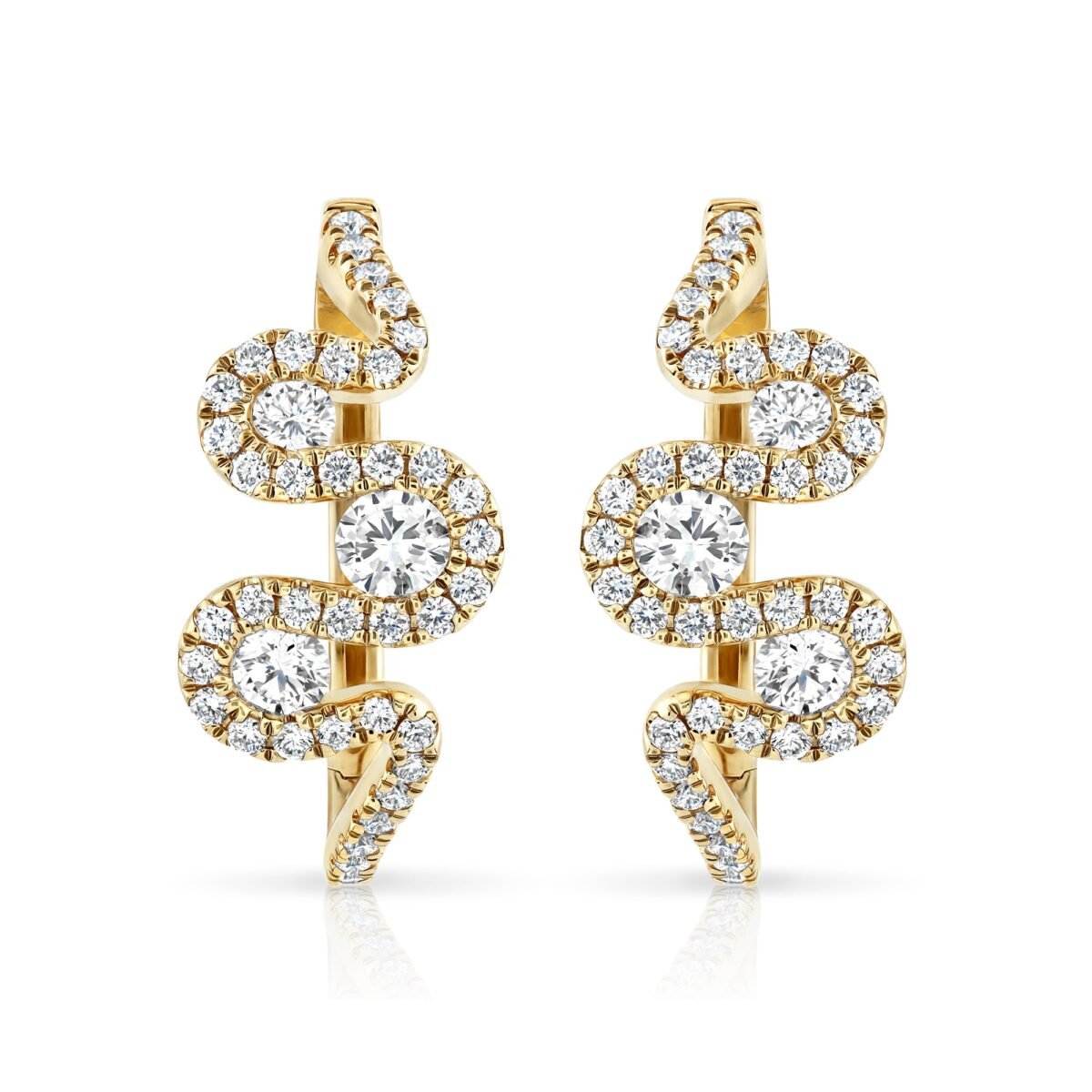Meander Yellow Gold Diamond Earrings