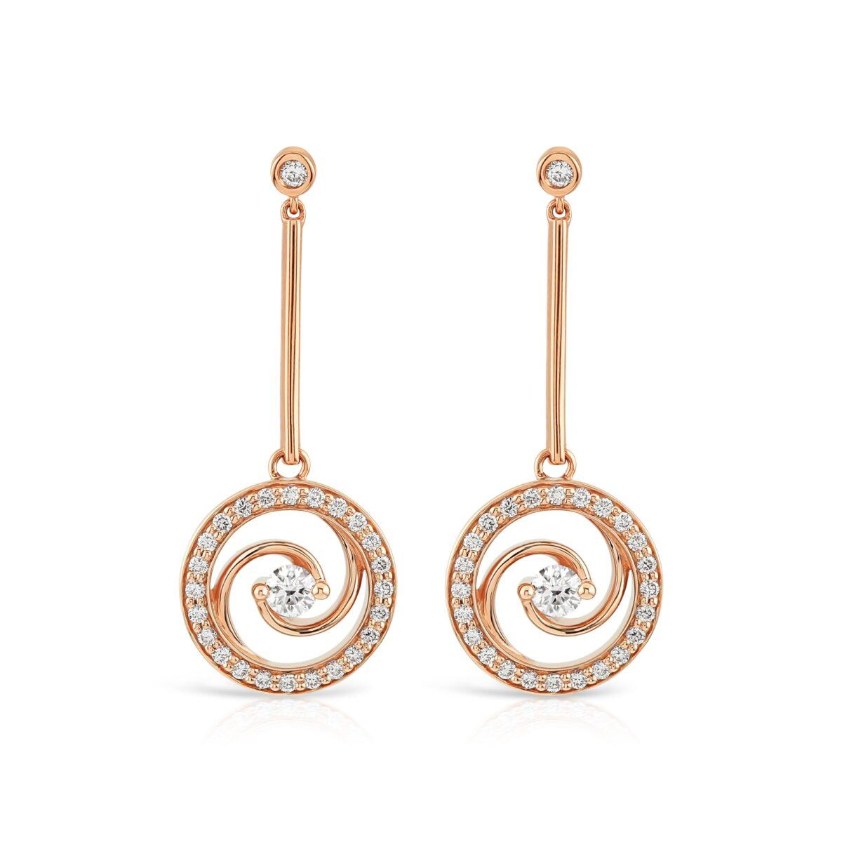 Whirlwind Rose Gold Diamond Drop Earrings