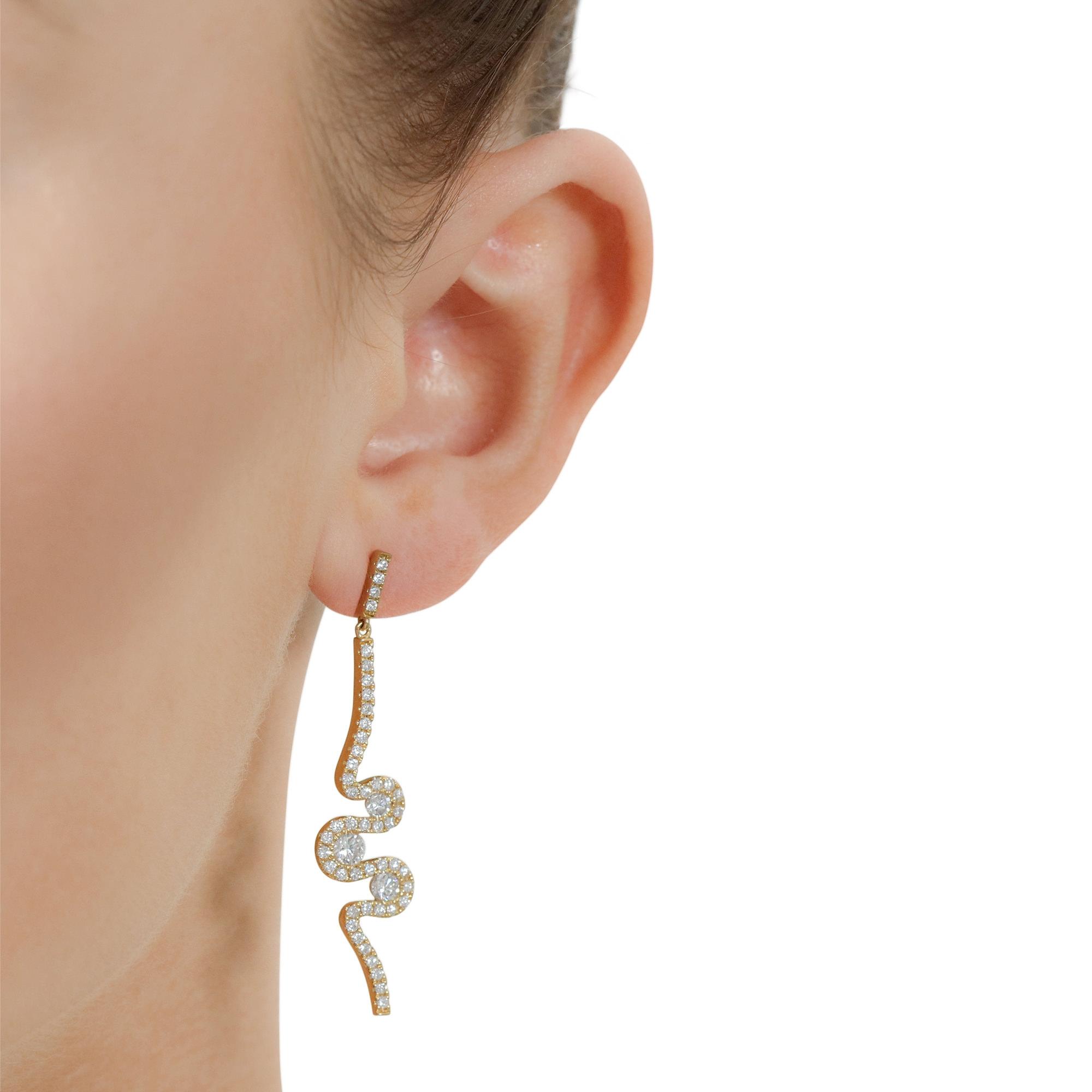 Meander Yellow Gold Diamond Drop Earrings