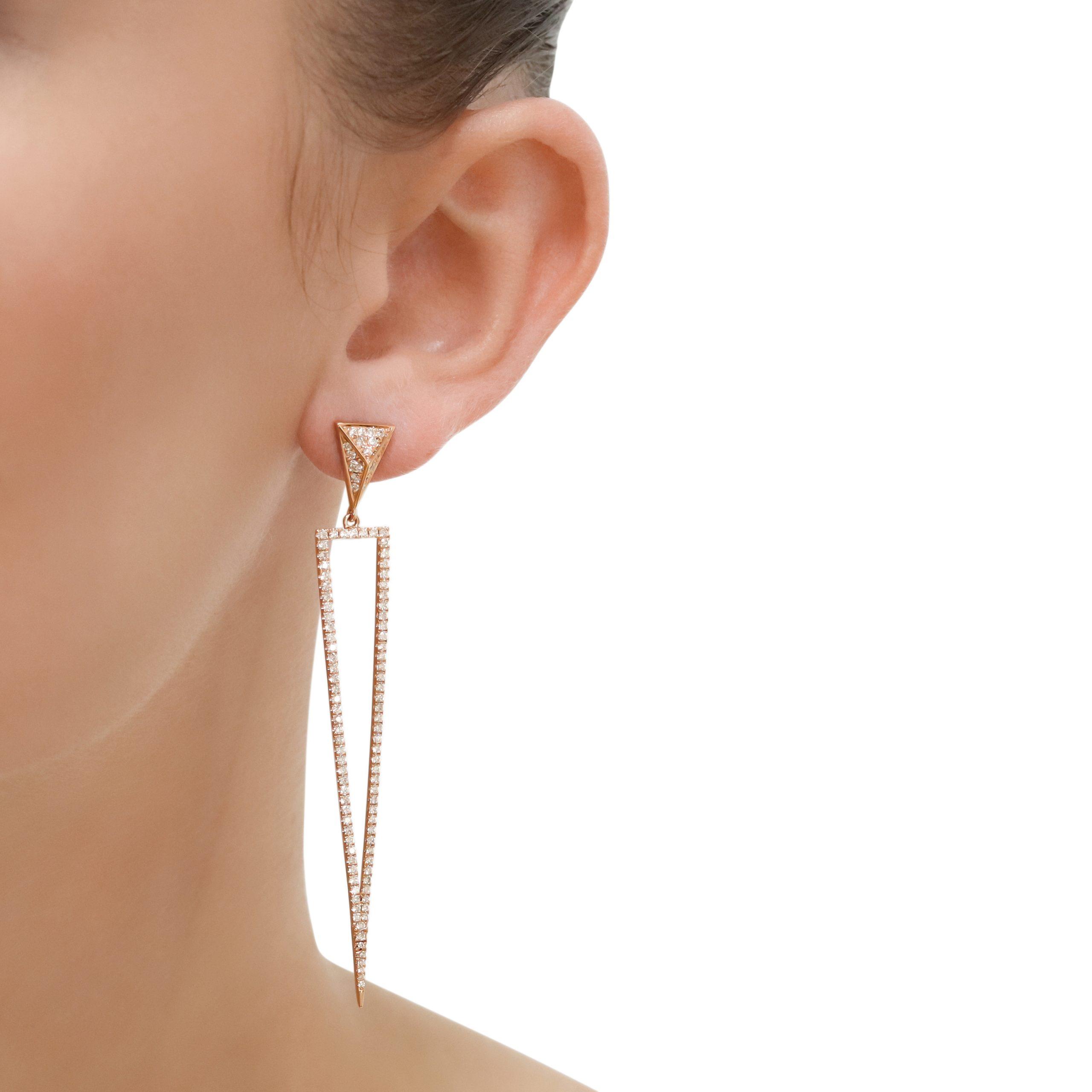 Triangle Rose Gold Diamond Drop Earrings