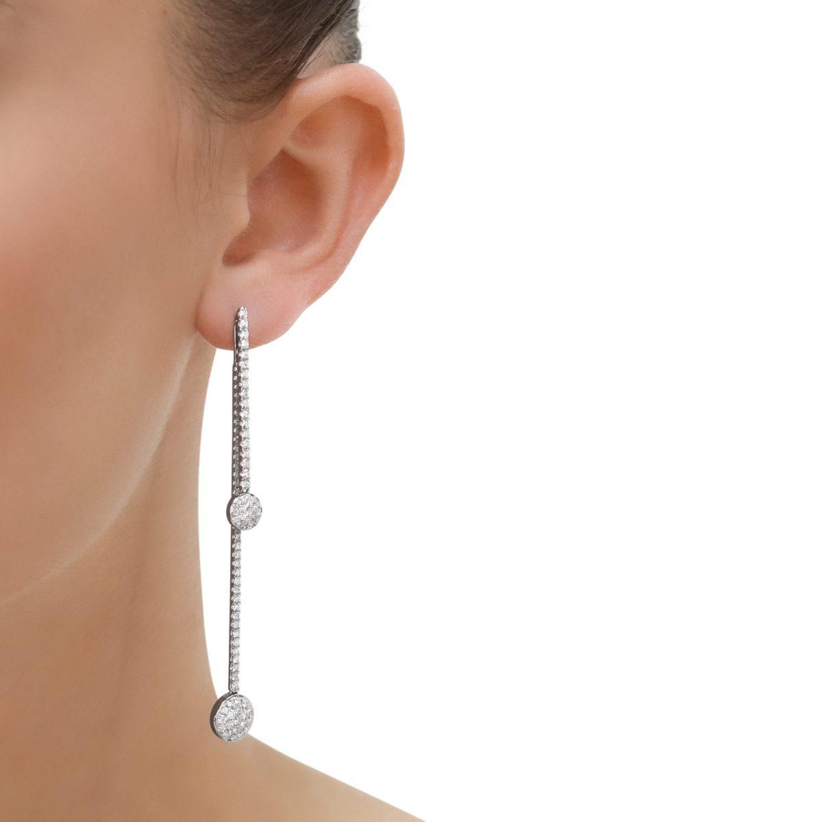 White Gold Diamond Double Drop Earrings