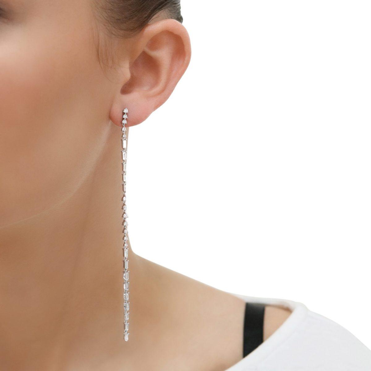 White Gold Diamond Shoulder Duster Earrings