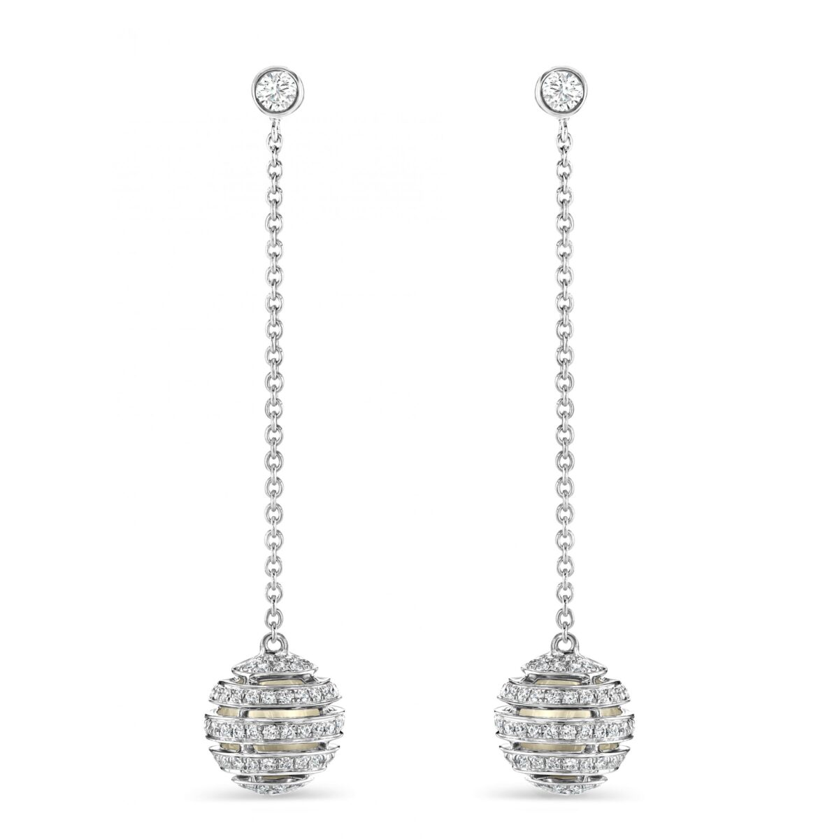 White Gold Diamond Sphere Drop Earrings