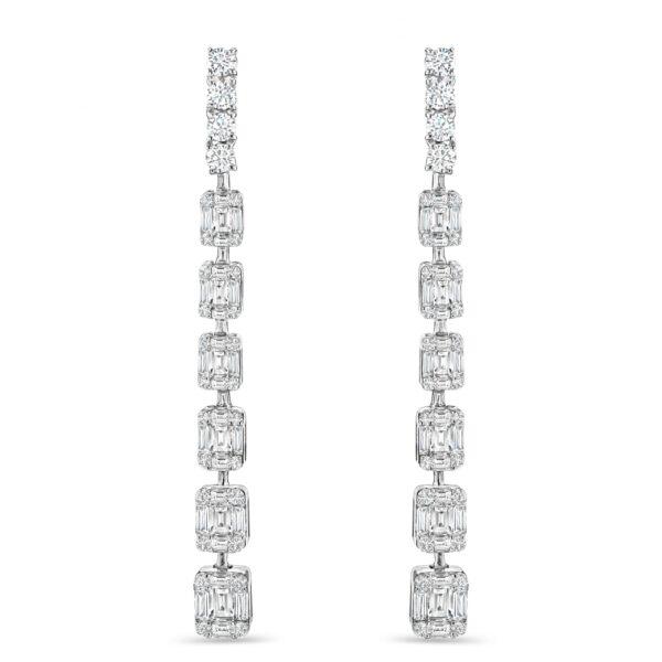 White Gold Mixed Cut Diamond Drop Earrings