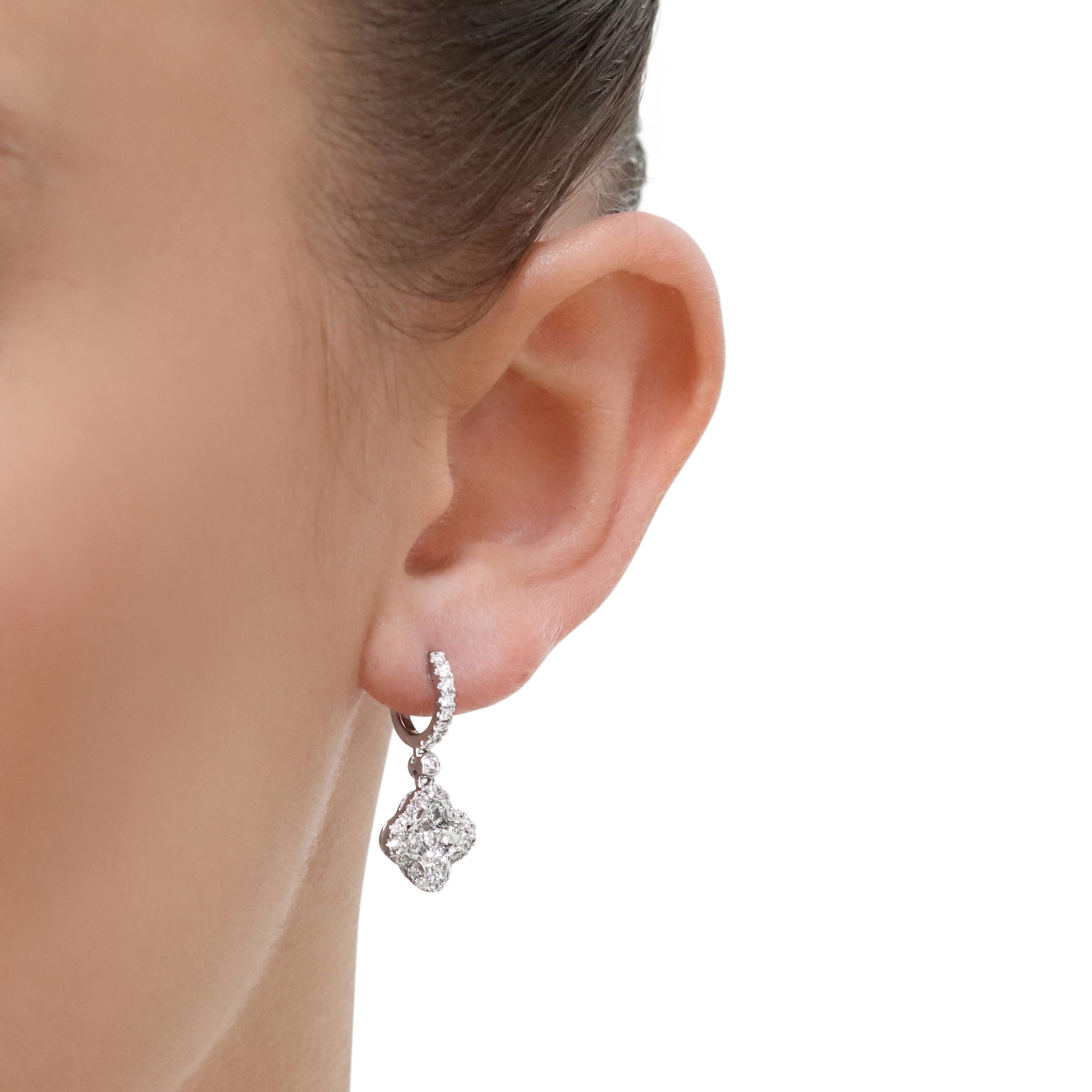 Flower White Gold Diamond Drop Earrings