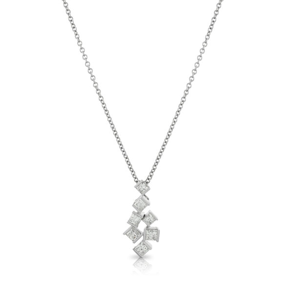 Hopscotch White Gold Diamond Necklace