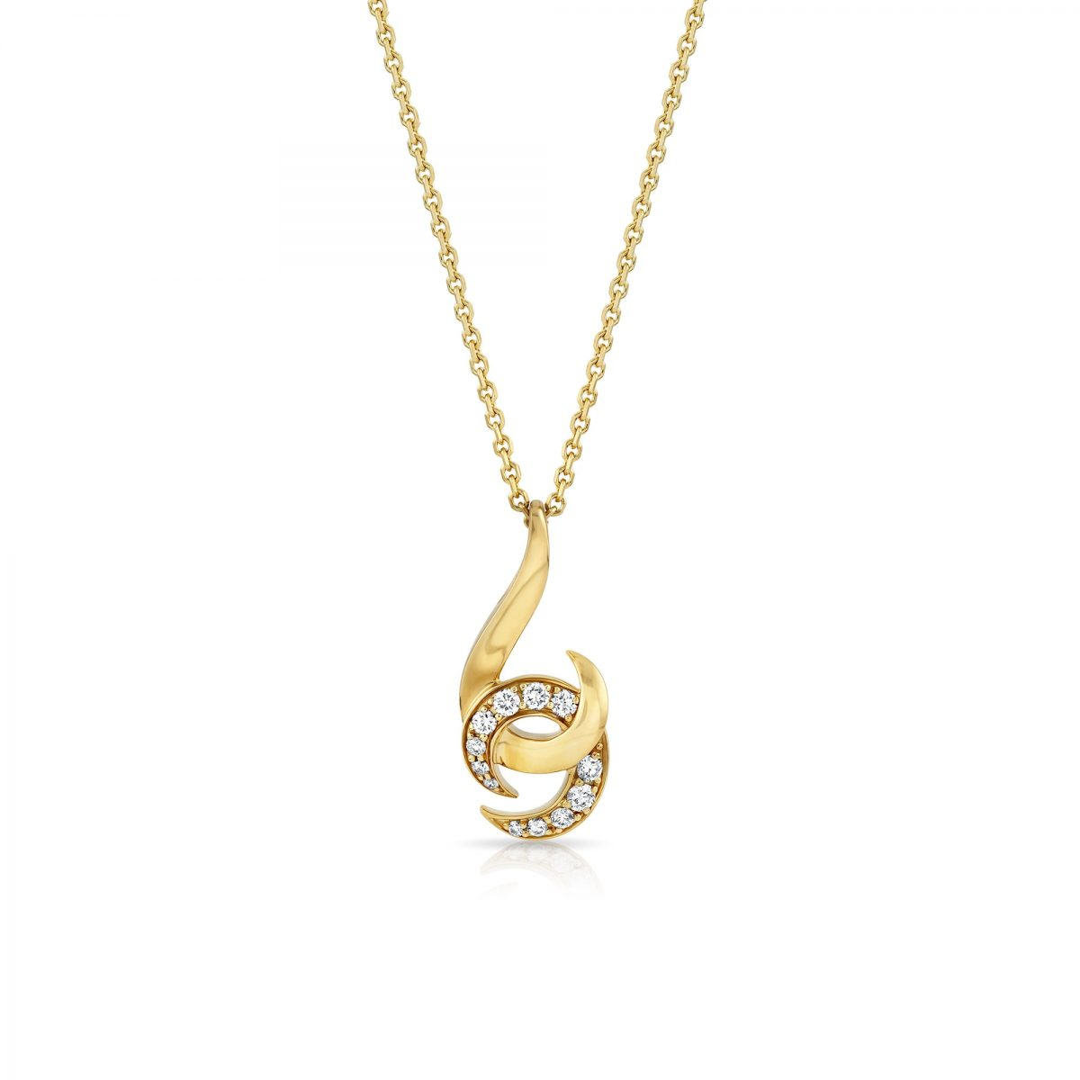 Hooked on You Yellow Gold Diamond Pendant